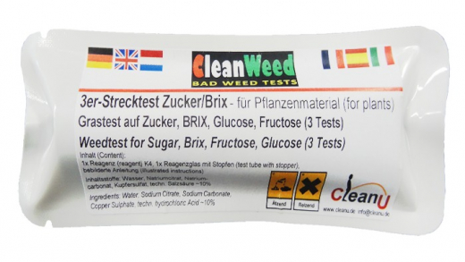 CleanWeed Strecktest: Brix/Zucker, ca. 3 Tests
