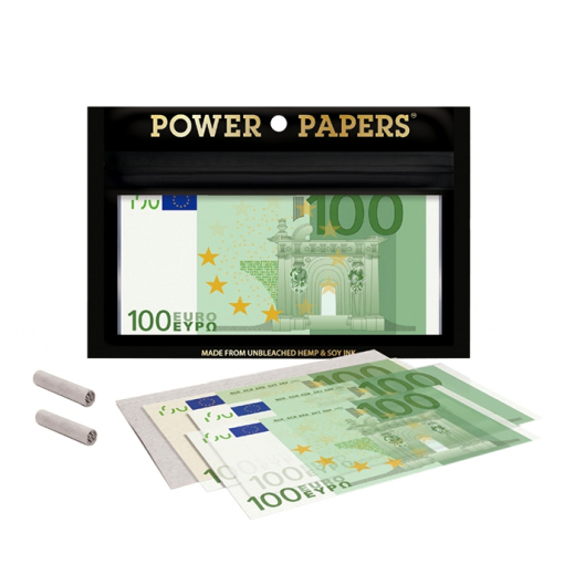 Rolling papers 100 Euro with filter tips - Display of 12 pcs.